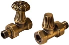 Запорно-балансировочный вентиль Royal Thermo Набор дизайн-вентилей Retro бронза прямой 1/2