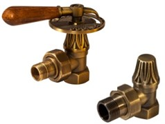 Запорно-балансировочный вентиль Royal Thermo Набор дизайн-вентилей Retro Wood бронза угловой 1/2