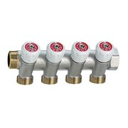 Коллектор регулирующий проходной EMMETI Multiplex - 3/4  (ВР/НР) на 4 контура 24x19 (никелированный)