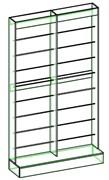 Стеллаж для обоев пристенный с подиумом двойной (обои 730мм)